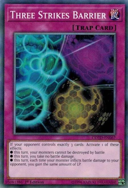 YuGiOh Code of the Duelist Common Three Strikes Barrier COTD-EN067