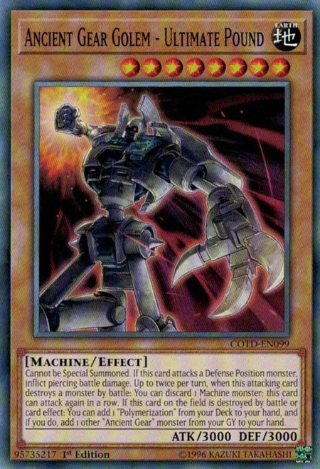 YuGiOh Code of the Duelist Common Ancient Gear Golem - Ultimate Pound COTD-EN099