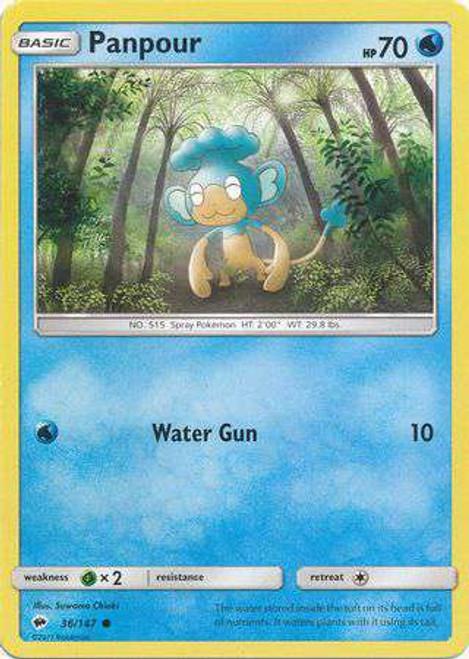 Pokemon Sun & Moon Burning Shadows Common Panpour #36