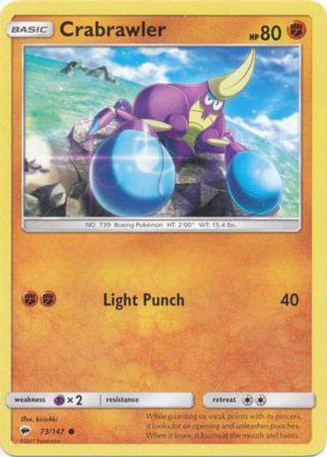 Pokemon Sun & Moon Burning Shadows Common Crabrawler #73