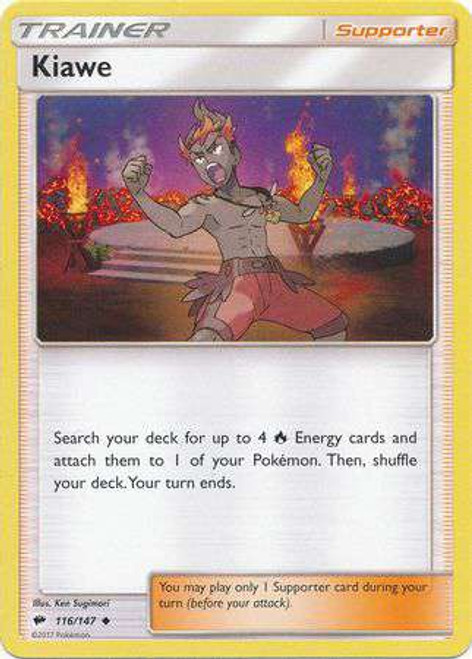 Pokemon Sun & Moon Burning Shadows Uncommon Kiawe #116
