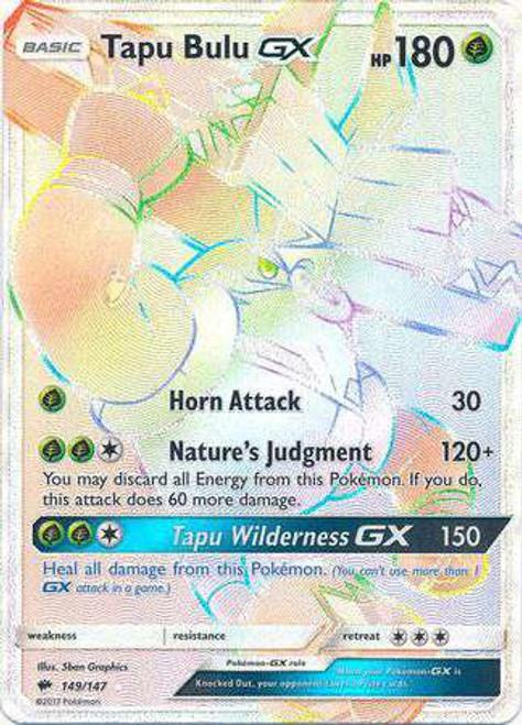 Pokemon Sun & Moon Burning Shadows Hyper Rare Tapu Bulu GX #149