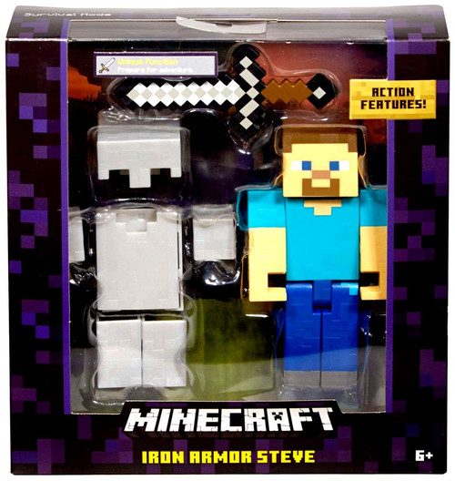 Minecraft Survival Mode Iron Armor Steve Action Figure