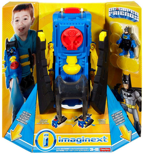 Fisher Price DC Super Friends Imaginext 2-in-1 Batwing 3-Inch Figure Set