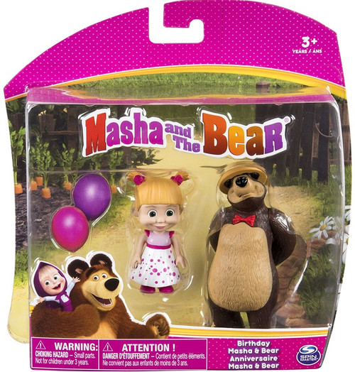 Masha and the Bear Birthday Masha & Bear 3-Inch Figure 2-Pack