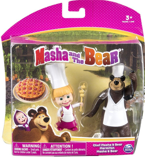 Masha and the Bear Chef Masha & Bear 3-Inch Figure 2-Pack