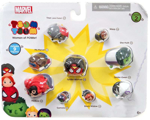 Tsum Tsum Series 2 Thor, Wasp, Ms Marvel, Spider-Woman, Spider-Gwen, Mudusa, Gamora, Black Widow & She Hulk Exclusive 1-Inch Minifigure 9-Pack [Women of POWer!]