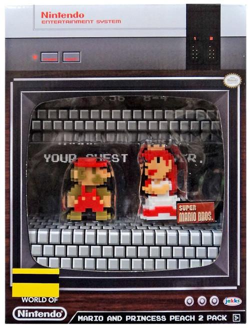 World of Nintendo 8-Bit Mario & Princess Peach Exclusive 2.5-Inch Mini Figure 2-Pack