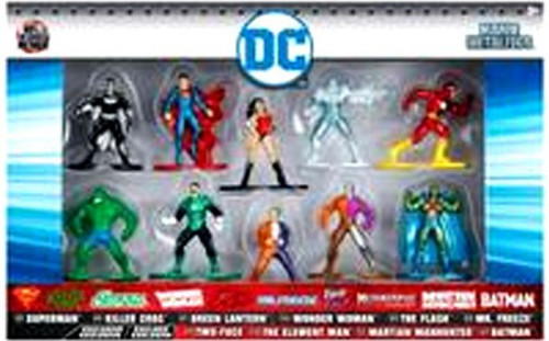 DC Nano Metalfigs Superman, Killer Croc, Green Lantern, Wonder Woman, The Flash, Mr. Freeze, Two-Face, The Element Man, Martian Manhunter & Batman 1.5-Inch Diecast Figure 10-Pack