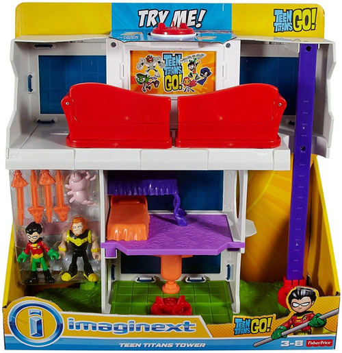 Fisher Price Teen Titans Go! Imaginext Teen Titan Tower 3-Inch Playset [Robin, Mammoth & Silkie Figures!]