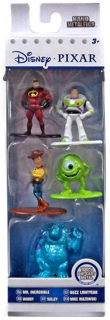 Disney / Pixar Nano Metalfigs Mr. Incredible, Buzz Lightyear, Woody, Mike Wazowski & Sulley 1.5-Inch Diecast Figure 5-Pack