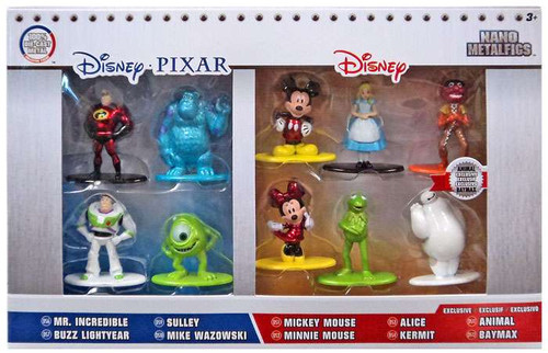 Disney / Pixar Nano Metalfigs Mr. Incredible, Buzz Lightyear, Mike Wazowski, Sulley, Mickey, Minnie, Alice, Animal, Kermit & Baymax 1.5-Inch Diecast Figure 10-Pack
