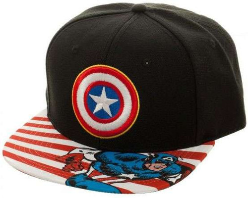 Marvel Captain America Striped Brim Snapback Cap Apparel