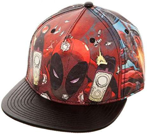 Marvel Deadpool Printed PU Snapback Cap Apparel