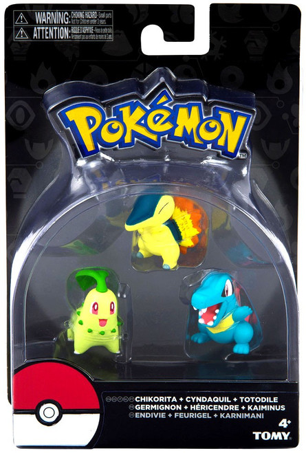 Pokemon Chikorita, Cindaquil & Totodile 3-Inch Mini Figure 3-Pack