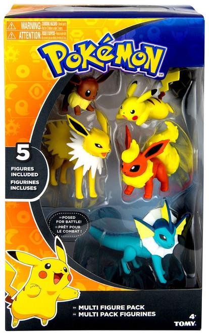 Pokemon Flareon, Jolteon, Vaporeon, Pikachu & Eevee 3-Inch Multi Figure 5-Pack