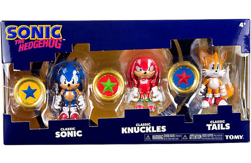 Sonic The Hedgehog Sonic Boom Pixelated Classic Sonic, Classic Knuckles & Classic Tails Action Figure 3-Pack [3 Rings]