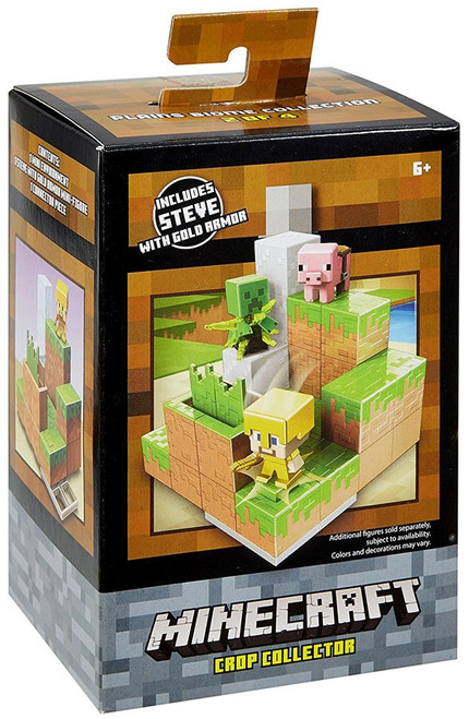 Minecraft Plains Biome Collection Crop Collector Mini Figure Environment Playset #2 of 4 [Includes Steve with Gold Armor]