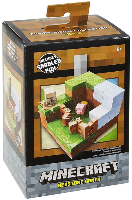 Minecraft Plains Biome Collection Redstone Ranch Mini Figure Environment Playset #1 of 4 [Includes Saddled Pig]