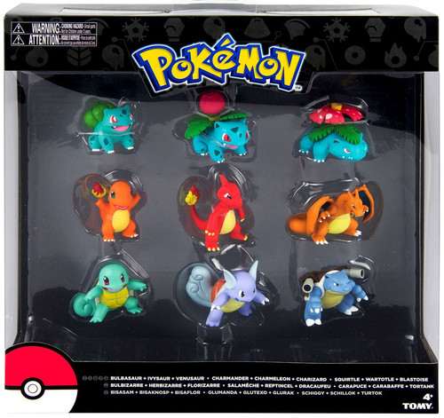 Pokemon Evolution Bulbasaur, Charmander & Squirtle Figure 9-Pack