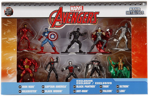 Marvel Avengers Nano Metalfigs Iron Man, Hulkbuster, Captain America, Black Widow, Black Panther, Ant-Man, Thor, Falcon, Ultron & Loki 1.5-Inch Diecast Figure 10-Pack