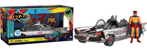Funko DC Batman 1966 TV Series Chrome Batmobile with Batman Exclusive Action Figure Set