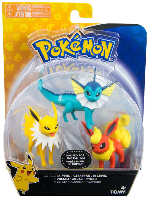 Pokemon Action Pose Vaporeon, Jolteon & Flareon 3-Inch Mini Figure 3-Pack [Larger Scale, Yellow & Blue Package]