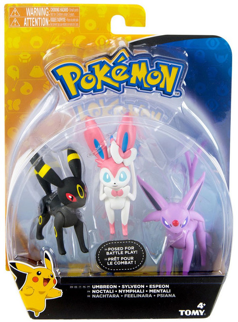 Pokemon Action Pose Umbreon, Sylveon & Espeon 3-Inch Mini Figure 3-Pack
