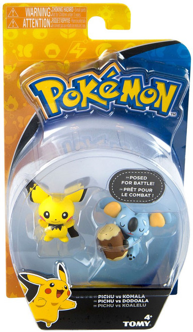 Pokemon Action Pose Pichu vs. Komala 2-Inch Mini Figure 2-Pack