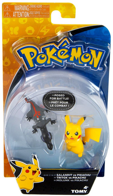 Pokemon Action Pose Salandit vs. Pikachu 2-Inch Mini Figure 2-Pack