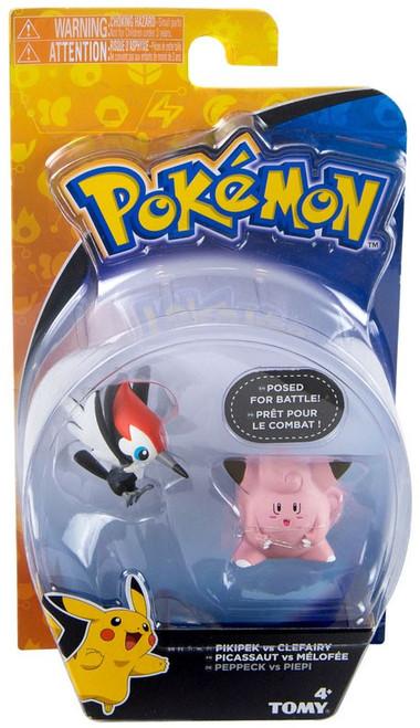 Pokemon Action Pose Pikipek vs. Clefairy 2-Inch Mini Figure 2-Pack