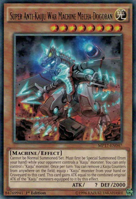 YuGiOh 2017 Mega-Tin Mega Pack Rare Super Anti-Kaiju War Machine Mecha-Dogoran MP17-EN047