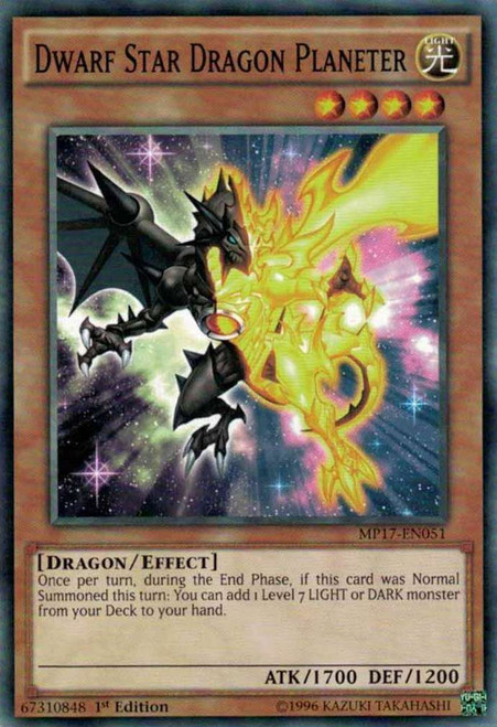 YuGiOh 2017 Mega-Tin Mega Pack Common Dwarf Star Dragon Planeter MP17-EN051