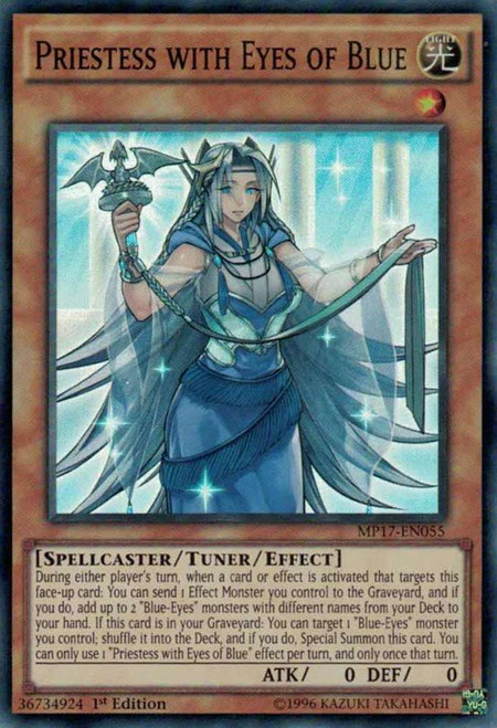 YuGiOh 2017 Mega-Tin Mega Pack Super Rare Priestess with Eyes of Blue MP17-EN055