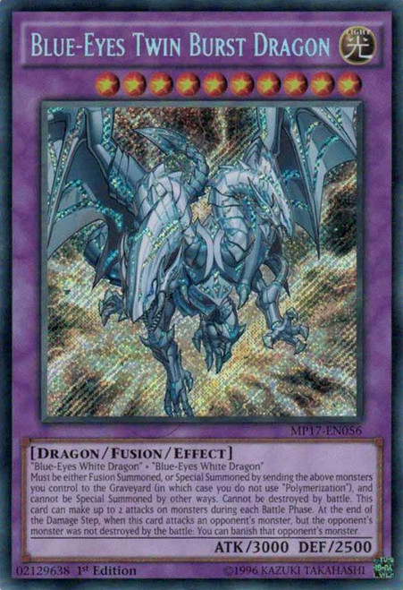 YuGiOh 2017 Mega-Tin Mega Pack Secret Rare Blue-Eyes Twin Burst Dragon MP17-EN056