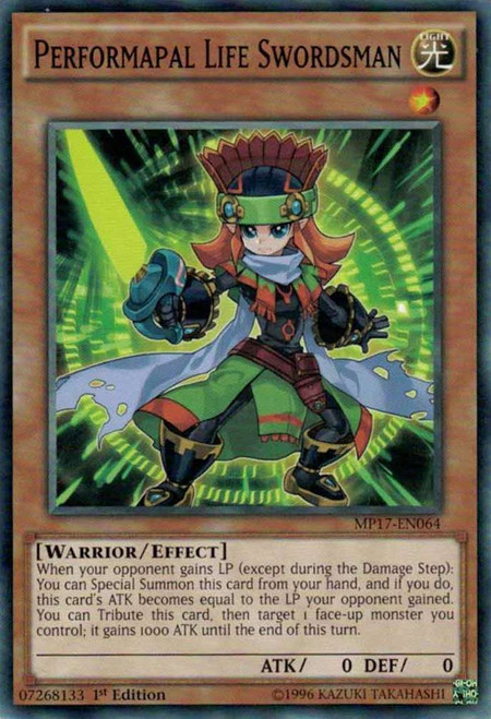 YuGiOh 2017 Mega-Tin Mega Pack Common Performapal Life Swordsman MP17-EN064