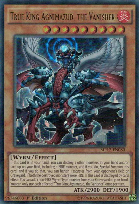 YuGiOh 2017 Mega-Tin Mega Pack Ultra Rare True King Agnimazud, the Vanisher MP17-EN080