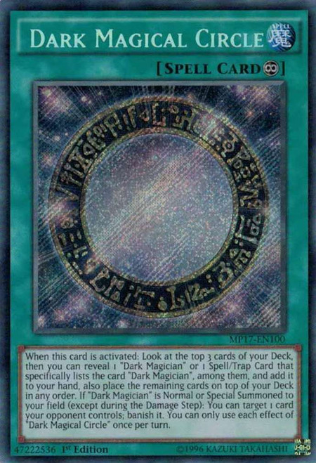 YuGiOh 2017 Mega-Tin Mega Pack Secret Rare Dark Magical Circle MP17-EN100