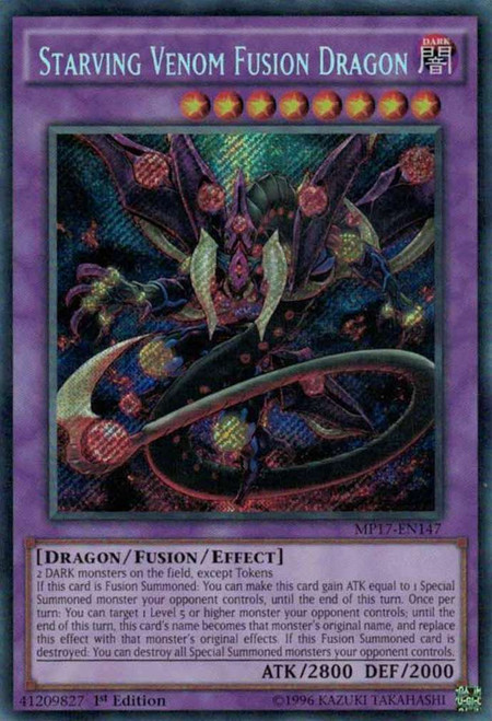 YuGiOh 2017 Mega-Tin Mega Pack Secret Rare Starving Venom Fusion Dragon MP17-EN147