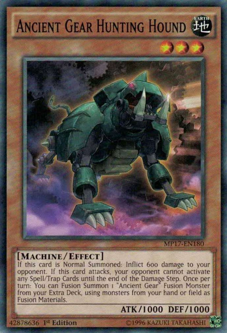 YuGiOh 2017 Mega-Tin Mega Pack Common Ancient Gear Hunting Hound MP17-EN180