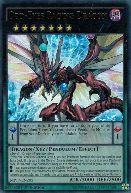 YuGiOh 2017 Mega-Tin Mega Pack Ultra Rare Odd-Eyes Raging Dragon MP17-EN205