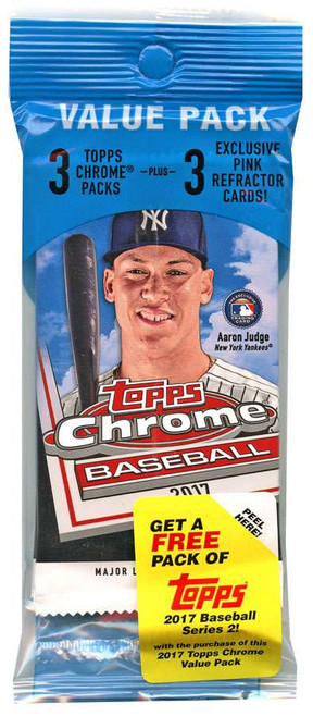 MLB Topps 2017 Chrome Baseball Trading Card VALUE Pack [3 Packs + 3 Pink Refractor Cards!]