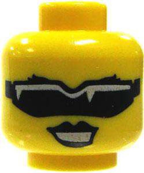 Black Lipstick & White Rimmed Sun Glasses Minifigure Head [Yellow Loose]