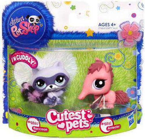 Littlest Pet Shop Cutest Pets Raccoon & Anteater Figure 2-Pack #2890, 2891 [Damaged Package]