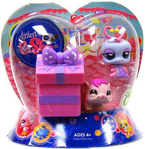 Littlest Pet Shop Valentines Day Lovebug & Hamster Exclusive Figure 2-Pack #1406, 1408 [Present, Damaged Package]