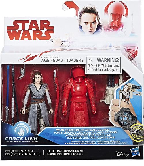 Star Wars The Last Jedi Force Link Rey (Jedi Training) & Elite Praetorian Guard Action Figure 2-Pack