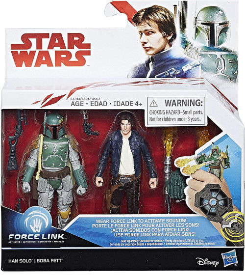 Star Wars The Empire Strikes Back Force Link Han Solo & Boba Fett Action Figure 2-Pack