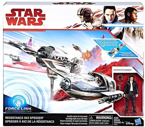Star Wars The Last Jedi Force Link Resistance Ski Speeder Vehicle & Action Figure [Captain Poe Dameron]