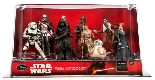 Disney Star Wars The Force Awakens 10-Piece PVC Figure Play Set [Solo, Leia, Dameron, Chewbacca, Flametrooper, Phasma, Ren, Rey, Finn & BB-8 , Damaged Package]