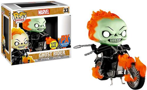 Funko Marvel POP! Rides Ghost Rider with Bike Exclusive Vinyl Figure #33 [Glow in the Dark]